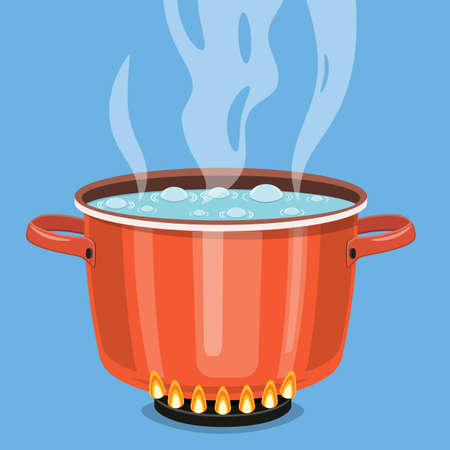 Boiling water in pan. red cooking pot on stove with water and steam. Vector illustration in flat style