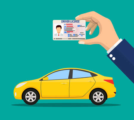 Car driver license identification card in hand with photo. Orange sedan car. Driver license vehicle identity document. plastic id card. Vector illustration in flat style
