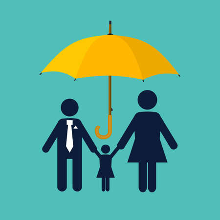 Family protection. Insurance concept. Paper chain people. Umbrella protects the family. Health care, safety. helping. Vector illustration in flat style
