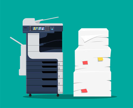 Office multifunction machine. Pile of paper documents. Bureaucracy, paperwork, office. Printer copy scanner device. Proffesional printing station. Vector illustration in flat style