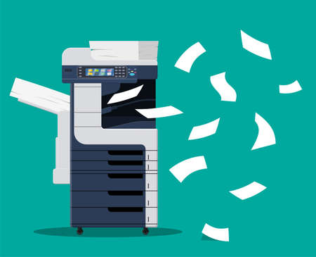 Professional office copier, multifunction printer printing paper documents isolated vector illustration. Printer and copier machine for office work. Vector illustration in flat style Illustration