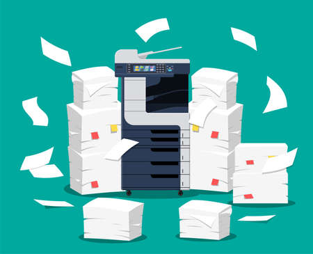 Office multifunction machine. Pile of paper documents. Bureaucracy, paperwork, office. Printer copy scanner device. Proffesional printing station.Vector illustration in flat style