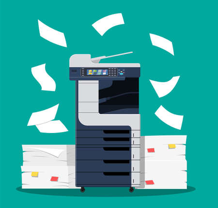 Office multifunction printer scanner. Copier with flying paper isolated on background. Copy machine with pile of documents, stack of papers. Vector illustration in flat style