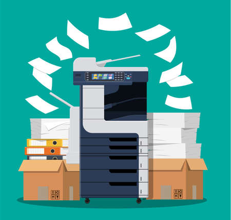 Office multifunction machine. Pile of paper documents, boxes and folders. Bureaucracy, paperwork, office. Printer copy scanner device. Professional printing station. Vector illustration in flat style Vectores
