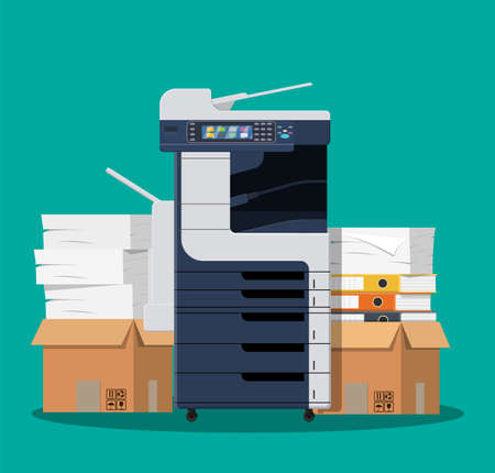 Office multifunction printer scanner. Copier isolated on blue background. Copy machine with a lot of documents, cardboard boxes with papers, folders. Vector illustration in flat style Illustration