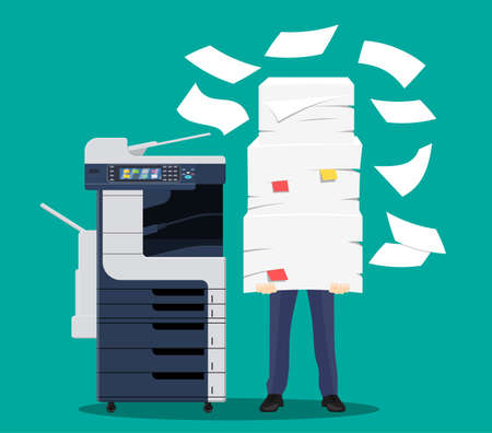 Businessman in pile of papers. Office multifunction machine. Bureaucracy, paperwork, overwork, office. Printer copy scanner device. Proffesional printing station. Vector illustration flat style