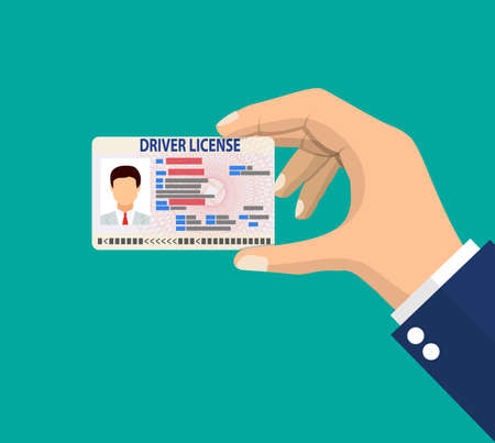 Car driver license identification card in hand with photo. Driver license vehicle identity document. plastic id card. Vector illustration in flat style