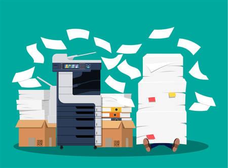 Hombre de negocios en pila de papeles. Máquina multifunción de oficina. Burocracia, papeleo, exceso de trabajo, oficina. Dispositivo de escáner de copia de impresora. Estación de impresión profesional. Estilo plano de ilustración vectorial