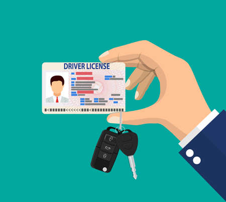 Car driver man license identification card with photo and car key with alarm in hand. Driver license vehicle identity document. plastic id card. Vector illustration in flat style
