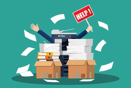 Stressed cartoon businessman in pile of office papers and documents with help sign. Stress at work. Overworked. File folders. Office multifunction machine. Vector illustration in flat style Illustration