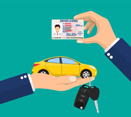 Car driver license identification card in hand with photo. Red sedan car with keys. Driver license vehicle identity document. plastic id card. Vector illustration in flat style