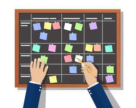 Scheda di pianificazione del calendario con piano di collaborazione, adesivi. Pianificazione dell'uomo d'affari, pianificazione del lavoro. Le persone fanno la cronologia. Routine quotidiana. Illustrazione vettoriale in stile piatto Vettoriali