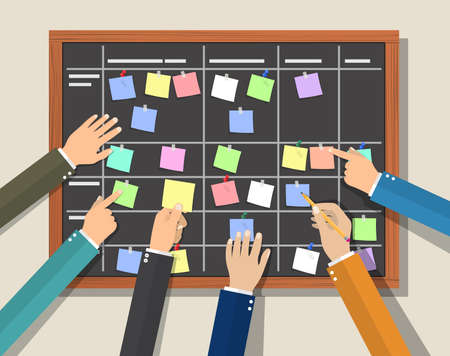 Calendar schedule board with collaboration plan. Company business team working together planning and scheduling their operations. Vector illustration in flat style
