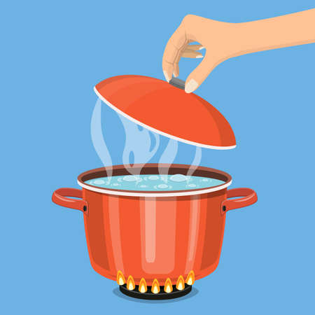 Cooking pot on stove with water and steam. Boiling water in pan. Hand holds lid. Vector illustration in flat style
