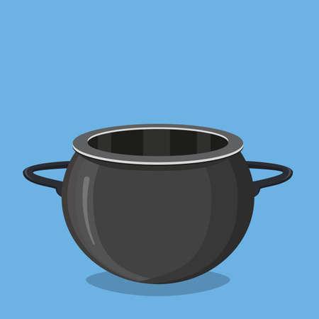 Black cooking pot, empty black saucepan. Vector illustration in flat style Illustration