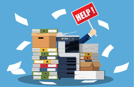 Stressed cartoon businessman in pile of office papers and documents with help sign. Stress at work. Overworked. File folders. Office multifunction machine. Vector illustration in flat style