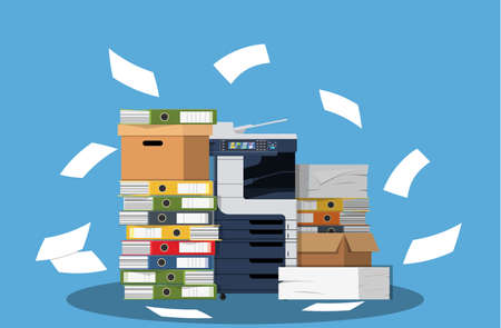 Office multifunction machine. Pile of paper documents, boxes and folders. Bureaucracy, paperwork, office. Printer copy scanner device. Professional printing station. Vector illustration in flat style Illustration