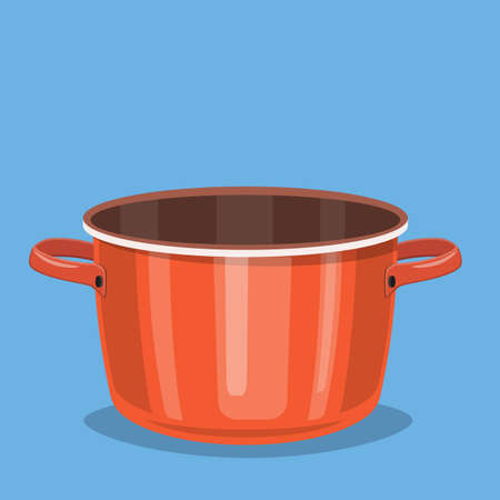 Black cooking pot, empty red saucepan. Vector illustration in flat style