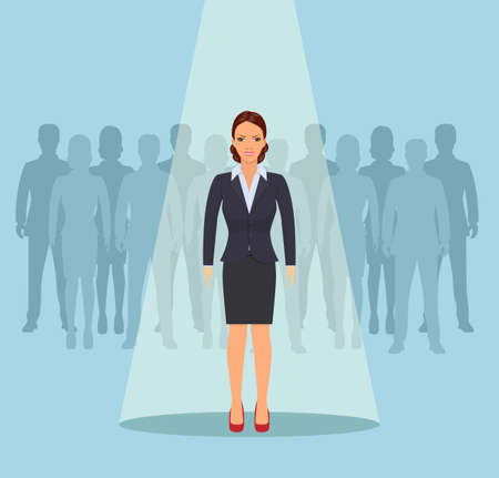 Businesswoman standing in spotlight or searchlight looking for new career opportunities. Business recruitment or hiring concept. Vector illustration in flat style