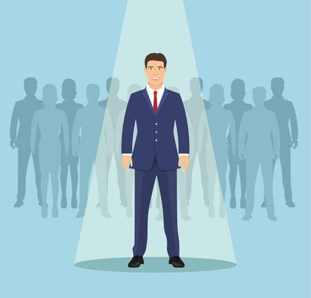 Geschäftsmann im Rampenlicht. Lehrplan, Rekrutierung, HR, Personalmanagementkonzept. Wählen Sie Geschäftsleute aus, die Sie einstellen möchten. Anwärter Mann für Vertragsjob. Vektorillustration im flachen Stil