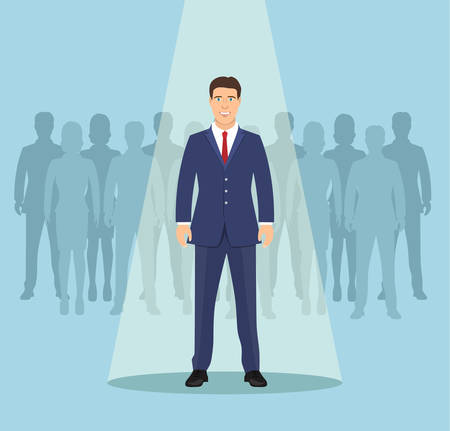businessman in spotlight . Curriculum, recruitment, HR, human resources management concept. Pick business people to hire. Candidate man for contract job. Vector illustration in flat style