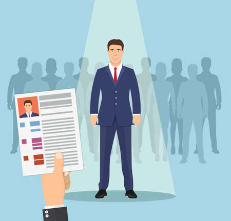 Hands hold CV profile. Pick business people to hire. Candidate for contract job. Curriculum, recruitment, HR concept. Businessman in spotlight. Vector illustration in flat style