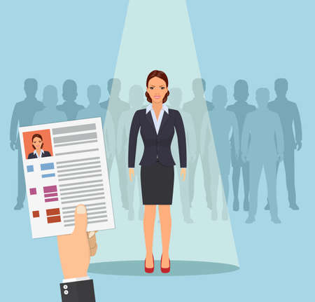 Hands hold CV profile. Pick business people to hire. Candidate for contract job. Curriculum, recruitment, HR concept. Businesswoman in spotlight. Vector illustration in flat style Vectores