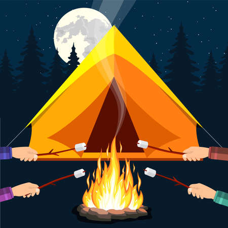 Bonfire with marshmallow. stone and fire. Tent, forest, moon, sky. Camping, burning woodpile in night. Vector illustration in flat style