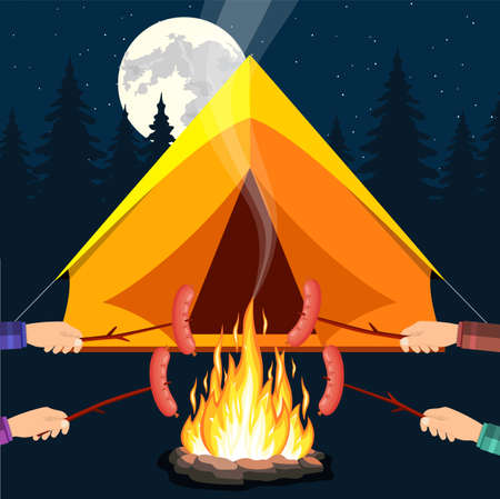 Bonfire with grill sausage. stone and fire. Tent, forest, moon, sky. Camping, burning woodpile in night. Vector illustration in flat style Illustration