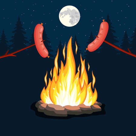 Bonfire with grill sausage, firewood, stones, rockFire flame at night. Scout in forest. Burn gas, wood. Bright light, blaze in camp.