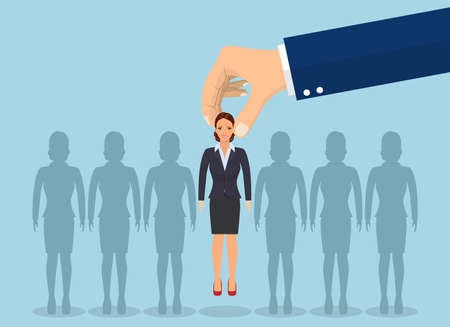 Business hand picking up a businesswoman. concept of searching for professional stuff, head hunter job, employment issue, human resources management. Vector illustration in flat style