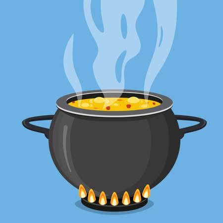 Cocinar sopa en sartén. Olla en la estufa con vapor. Ilustración de vector de estilo plano