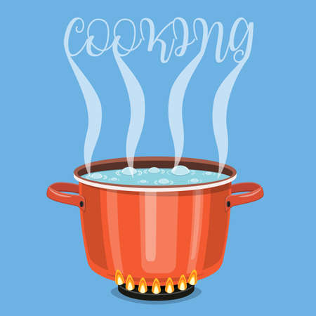 Boiling water in pan. Cooking pot on stove with water and steam. Vector illustration in flat style