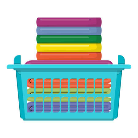 Plastic basket with bright towels icon isolated on white. Cloth Stack. Laundry Service Template Design. Vector illustration in flat style