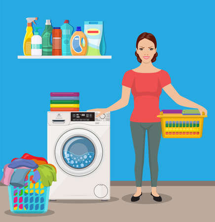 Woman housewife washes clothes in the washing machine. Vector illustration in a flat style Illustration