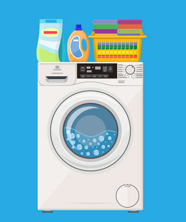 Washing machine Plastic basket with bright towels. Powder and cleanser. Vector illustration in flat style