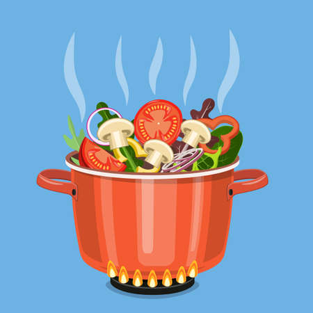 Cooking pot on stove with vegetables, mushrooms and steam. Boiling water in pan. Saucepan with tomatoes, peppers, onions, parsley. Vector illustration in flat style Stock Illustratie