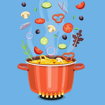 concetto di cucina. Sul fornello, fai bollire la zuppa. Illustrazione vettoriale in stile piatto Vettoriali