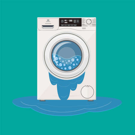 Broken washing machine from which water flows. Calling the master. Vector illustration in flat style