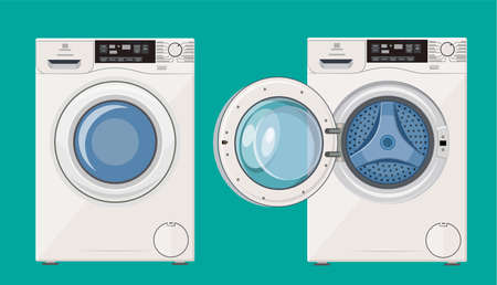 Washing machine with open and closed door icon. Vector illustration in flat style