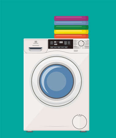 modern washing machine with pile of clothes. Clothes stack. Washing clothes. Vector illustration in flat style