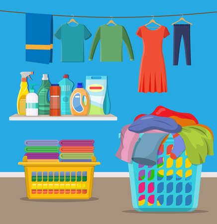 Laundry room service. linen baskets and detergent. Vector illustration in flat style