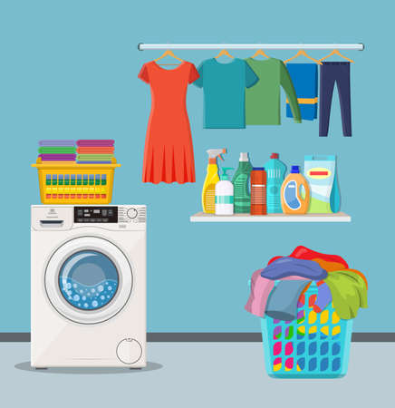 Laundry room service. washing machine with linen baskets and detergent. Vector illustration in flat style