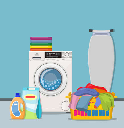 Laundry room service concept. Working washing machine with linen baskets, detergent, ironing board and towels. Cleaning service concept Illustration