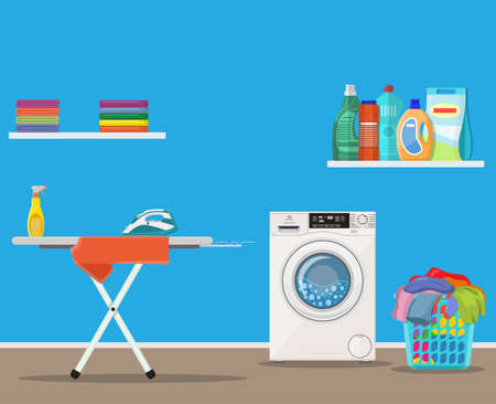 Laundry room with washing machine, Illustration