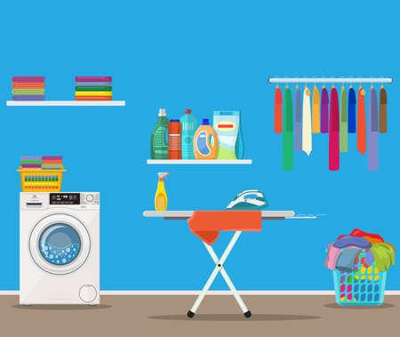 Waschküche mit Waschmaschine, Bügelbrett, Kleiderständer, Reinigung der Haushaltschemie, Waschpulver und Korb. Vektorillustration im flachen Stil