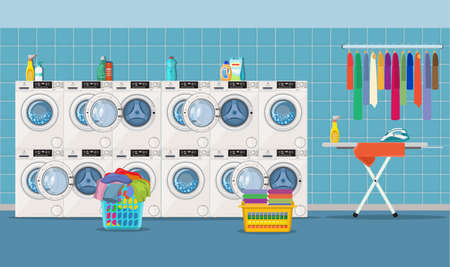 Laundry room interior with washing machine, ironing board, iron, clothes rack, household chemistry cleaning, washing powder and basket. Vector illustration in flat style