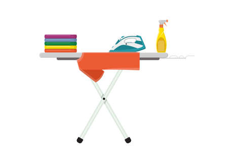 Ironing Board with clothes, iron and spray water icon. Vector illustration in flat style