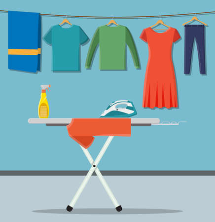 ironing board with laundry service icons. vector illustration in flat style