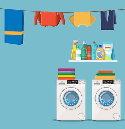 wash machine with laundry service icons and detergent. Vector illustration in flat style Illustration